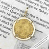 Cadiz Bay 1535 22K Gold 1 Escudo - the Legendary Doubloon - 18K Gold Pendant