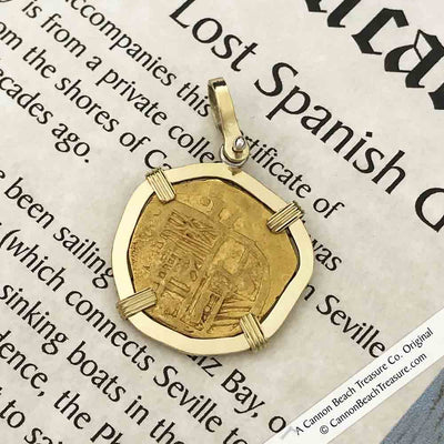 Cadiz Bay 1611 22K Gold 2 Escudo - the Legendary Doubloon - 18K Gold Pendant
