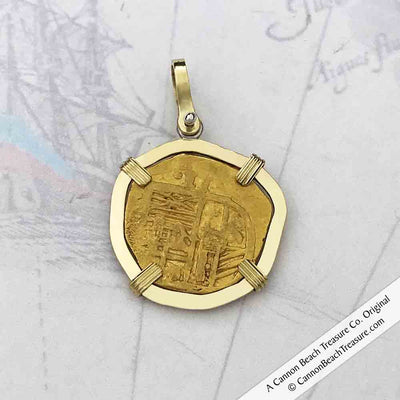 Cadiz Bay 1611 22K Gold 2 Escudo - the Legendary Doubloon - 18K Gold Necklace