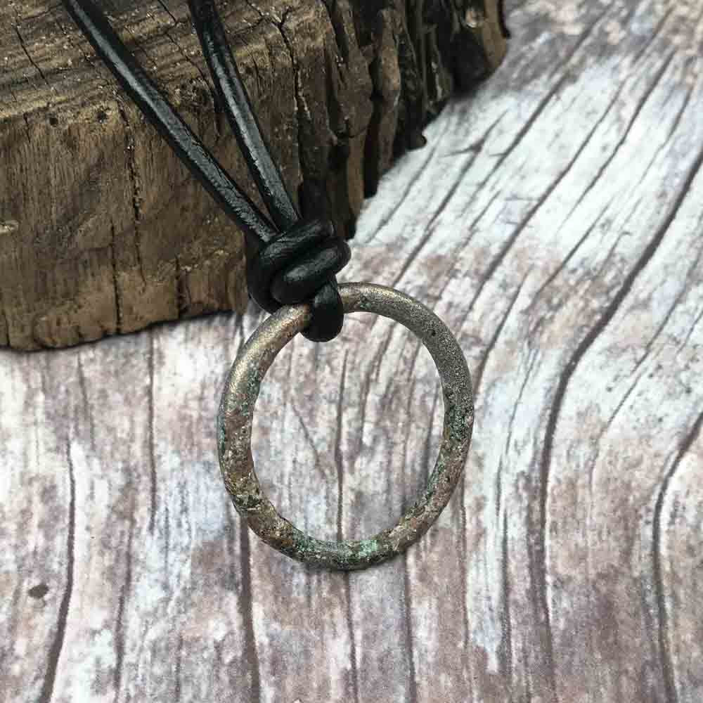 Large Light Green Bronze Celtic Ring Money Leather Necklace