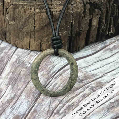 Frosted Green Golden Bronze Celtic Ring Money Leather Necklace