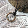 Gleaming Red Golden Bronze Celtic Ring Money Leather Necklace