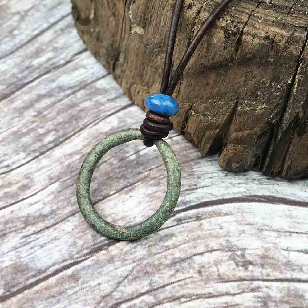 Leaf Green Celtic Ring Money & Lapiz Lazuli Leather Necklace