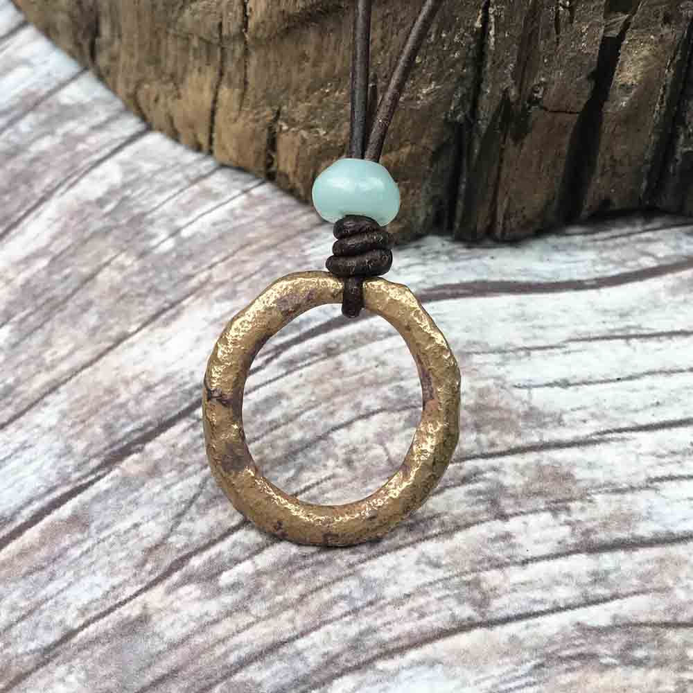 Rare Oval Bright Bronze Celtic Ring Money & Amazonite Leather Necklace