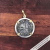 Medieval France Silver Demi-Guenar circa 1390 Crusader Cross Coin 18K Gold & Sterling Pendant