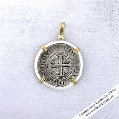 Medieval France Silver Guenar circa 1390 Crusader Cross Coin 18K Gold & Sterling Pendant