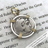 Alexander the Great Silver Drachm Coin circa 323 BC 18K Gold & Sterling Pendant