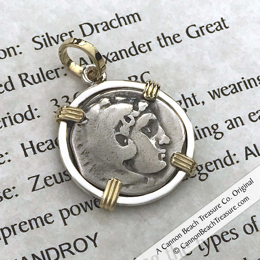 Alexander the Great Silver Drachm Coin circa 323 BC 18K Gold & Sterling Pendant | Artifact #8525