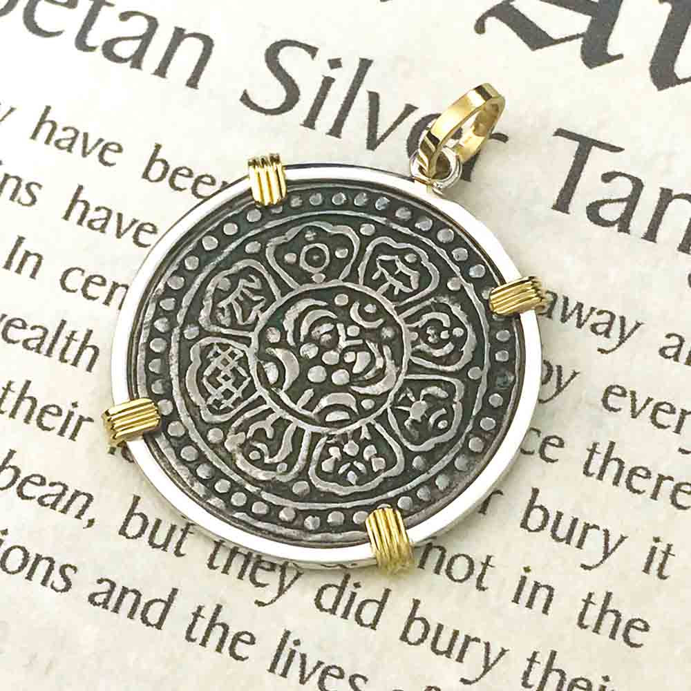 Tibet Ga-den Tanka with a Lotus & Buddha's Eight Paths to Enlightenment & Good Fortune Mandala 18K Gold & Sterling Pendant