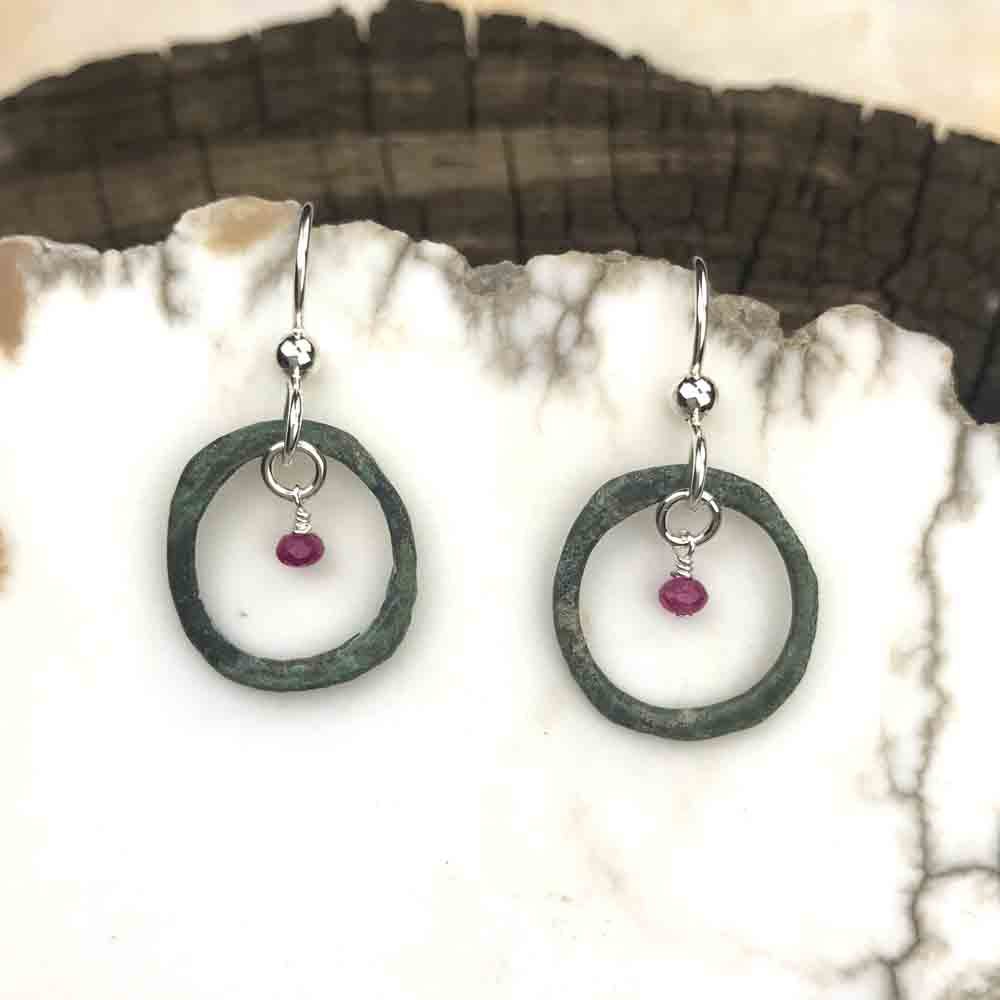 Soft Green Celtic Ring Money Earrings with Genuine Rubies
