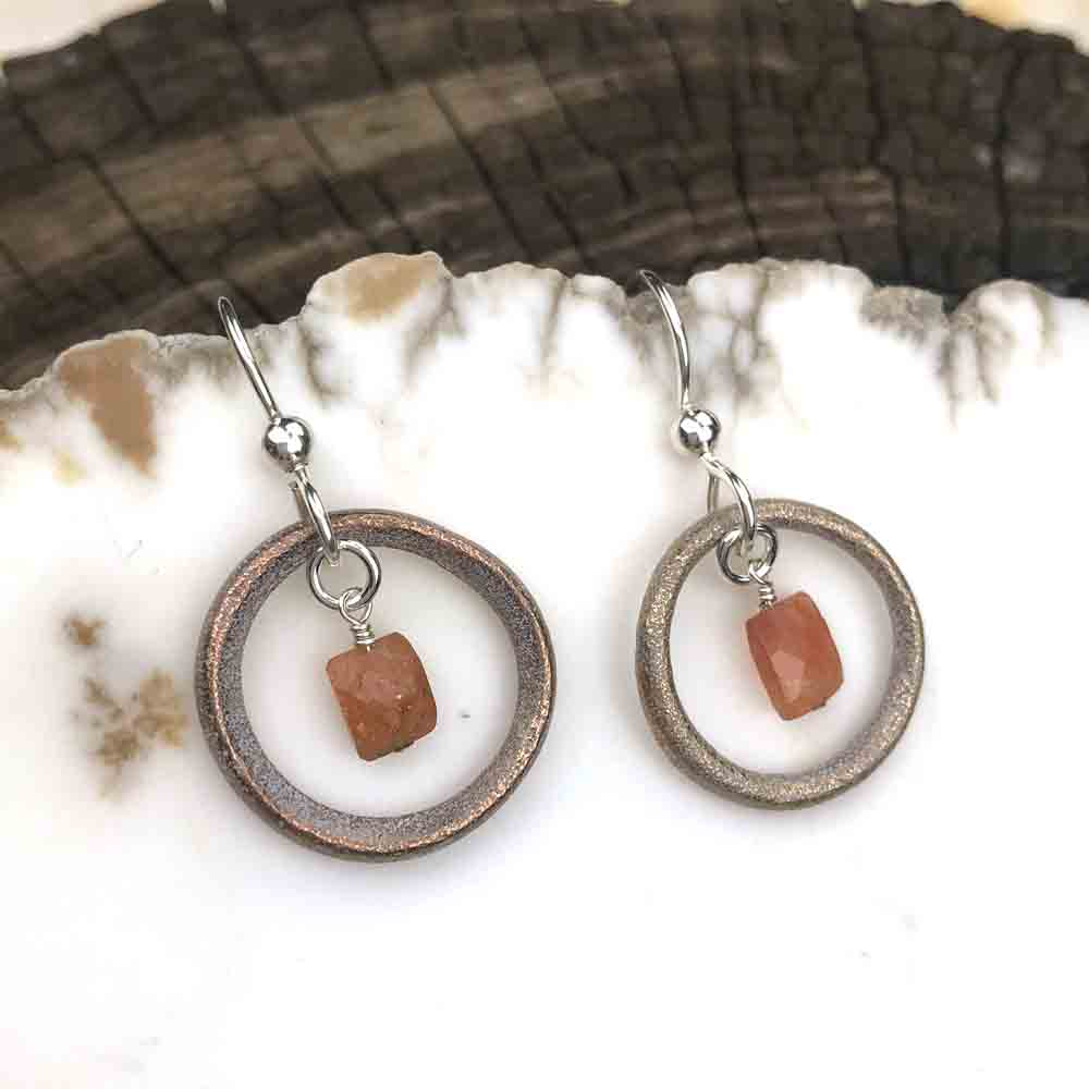 Light Golden Bronze Celtic Ring Money Earrings with Genuine Oregon Sunstone