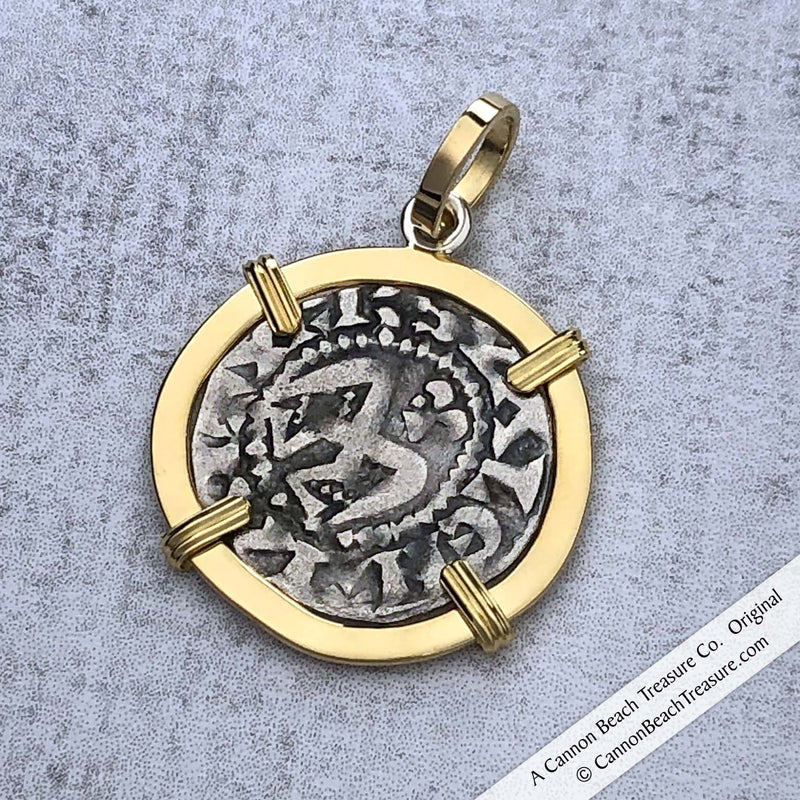 Medieval Angel Denier - the Silver French Coin of the Crusades 18K Gold Pendant | Artifact #8609