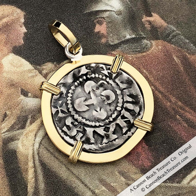 Medieval Angel Denier - the Silver French Coin of the Crusades 18K Gold Pendant