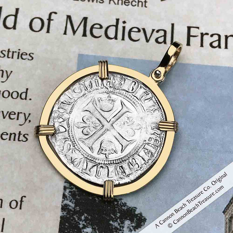 Medieval France Silver Guenar circa 1390 Crusader Cross Coin 18K Gold Pendant | Artifact #8610