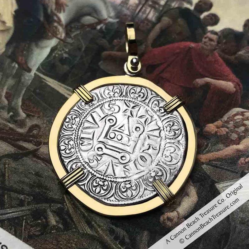 Templar Knights Era Medieval France Silver Gros Tournois circa 1290 Crusader Cross Coin 18K Gold Necklace | Artifact #8613