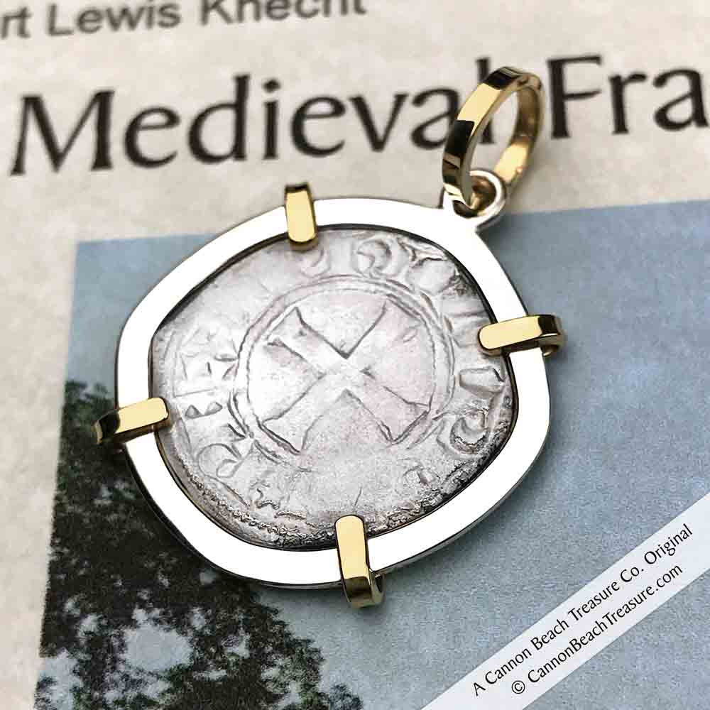 Templar Knights Era Cross & Cathedral Silver French Coin Necklace | Artifact #8618