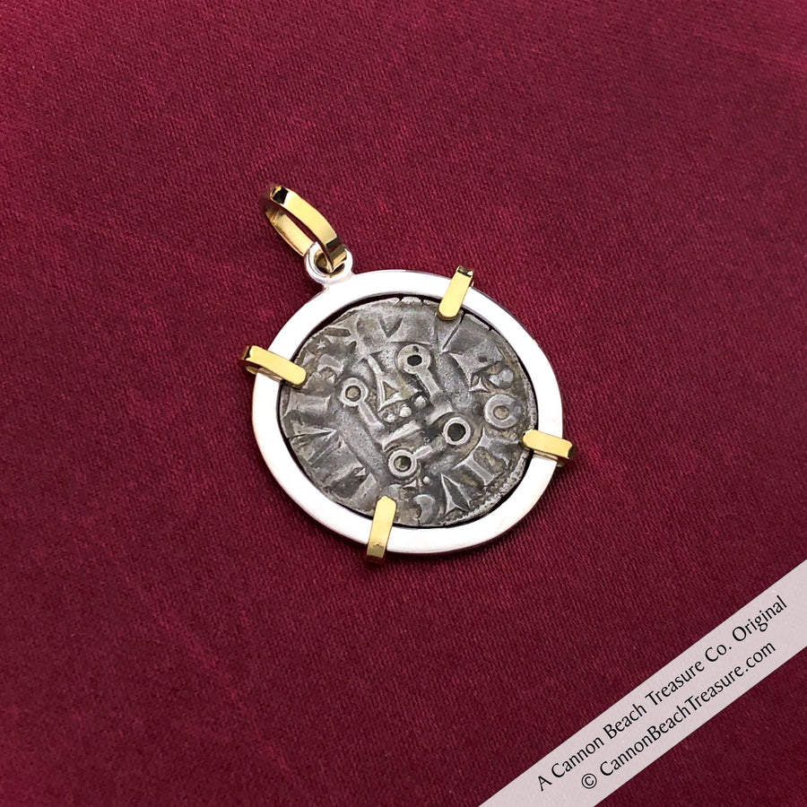 The Cross & Cathedral Silver French Coin of the Crusades 18K Gold & Sterling Pendant | Artifact #8619