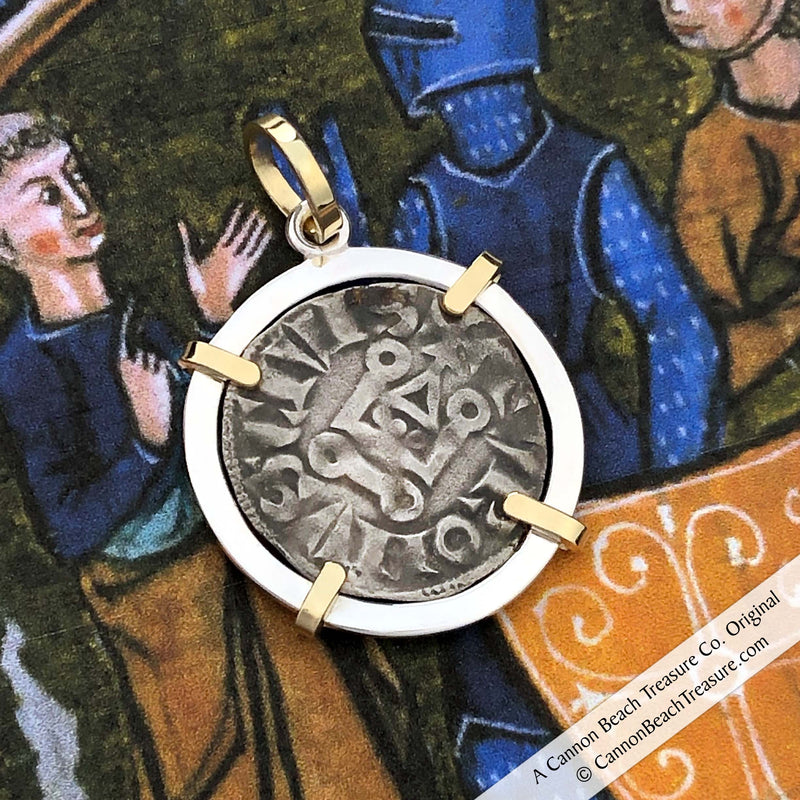 The Cross & Cathedral Silver French Coin of the Crusades 18K Gold & Sterling Pendant | Artifact #8620