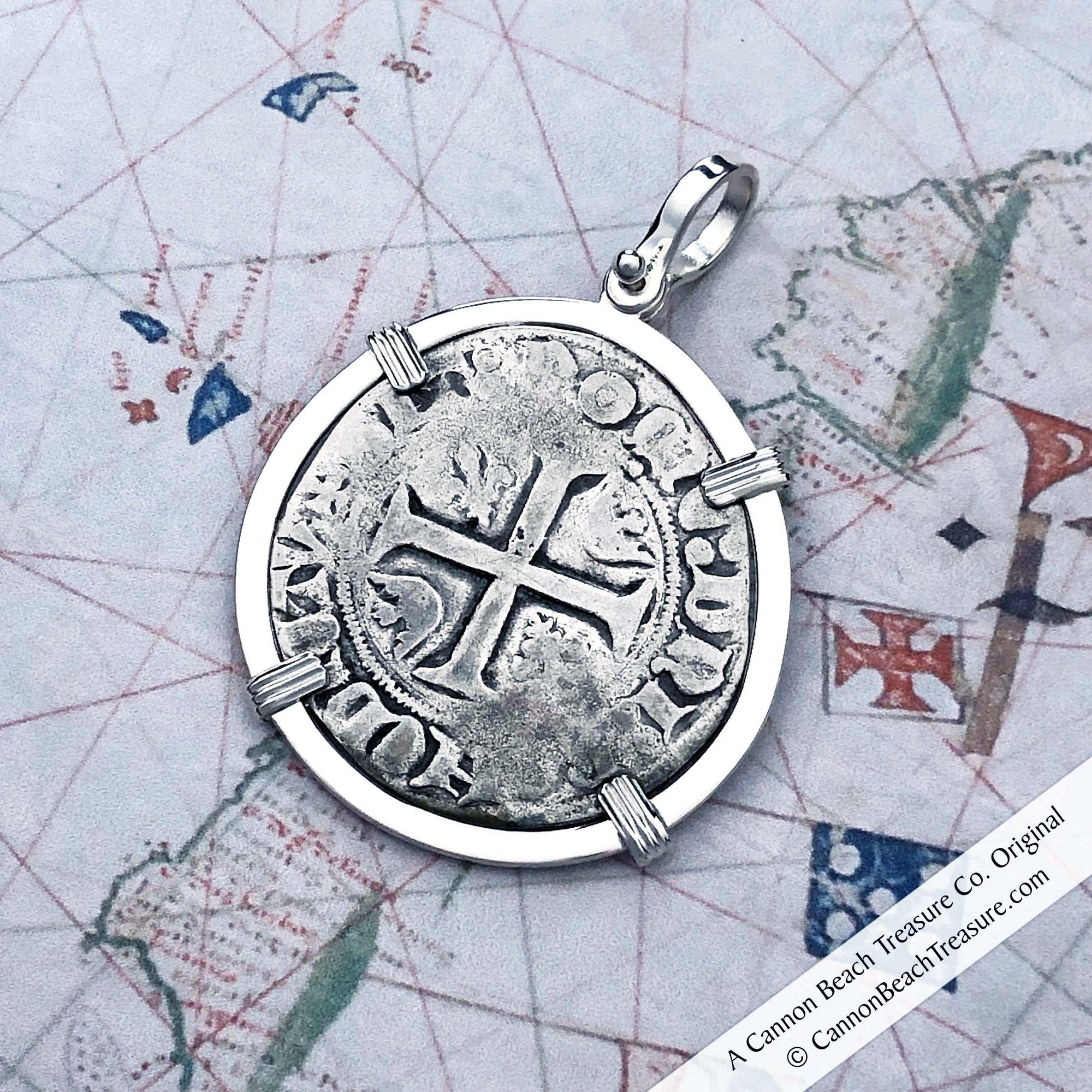Medieval France Silver Guenar circa 1390 Crusader Cross Coin Sterling Pendant
