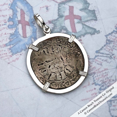 Medieval France Billon Blanc circa 1360 Crusader Cross Coin Sterling Pendant