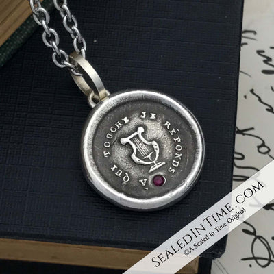 I am Inspired Wax Seal Pendant with Lab Ruby