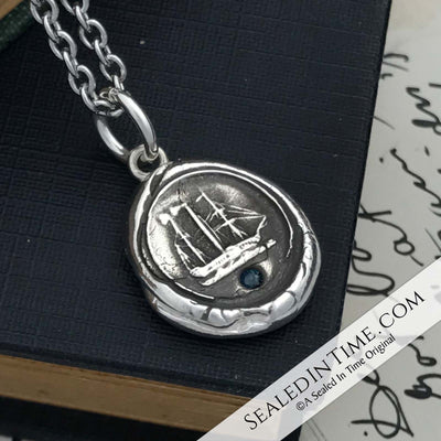 Two Masted Steam Paddle Wheeler Wax Seal Pendant with Blue Sapphire