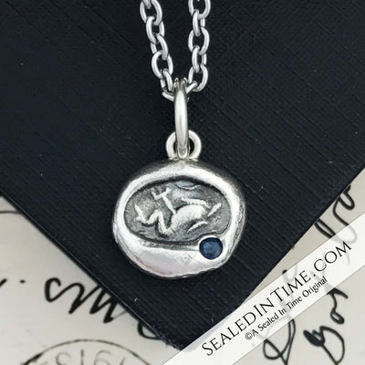 Trident & Dolphin Ancient Greek Wax Seal Pendant with Lab Blue Sapphire