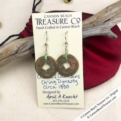 Ch'ing Dynasty 1 Cash Treasure Coin Earrings with Peridot Swarovski Crystals