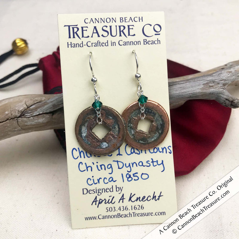 Ch'ing Dynasty 1 Cash Treasure Coin Earrings with Emerald Swarovski Crystals