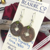 Ch'ing Dynasty 1 Cash Treasure Coin Earrings with Olivine Swarovski Crystals