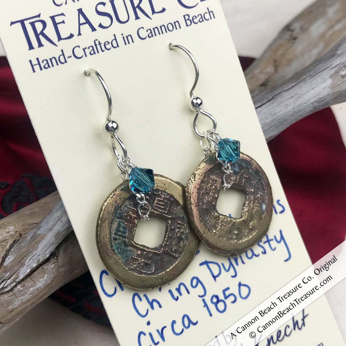 Ch'ing Dynasty 1 Cash Treasure Coin Earrings with Indicolite Swarovski Crystals