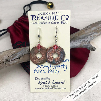 Ch'ing Dynasty 1 Cash Treasure Coin Earrings with Indian Pink Swarovski Crystals