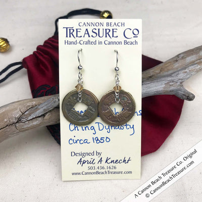 Ch'ing Dynasty 1 Cash Treasure Coin Earrings with Light Colorado Topaz Swarovski Crystals