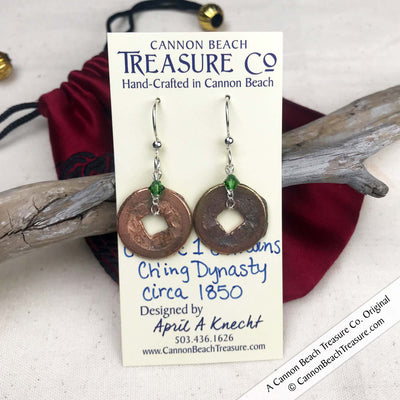 Ch'ing Dynasty 1 Cash Treasure Coin Earrings with Fern Green Swarovski Crystals
