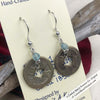 Ch'ing Dynasty 1 Cash Treasure Coin Earrings with Genuine Apatite