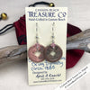 Ch'ing Dynasty 1 Cash Treasure Coin Earrings with Rose Swarovski Crystals