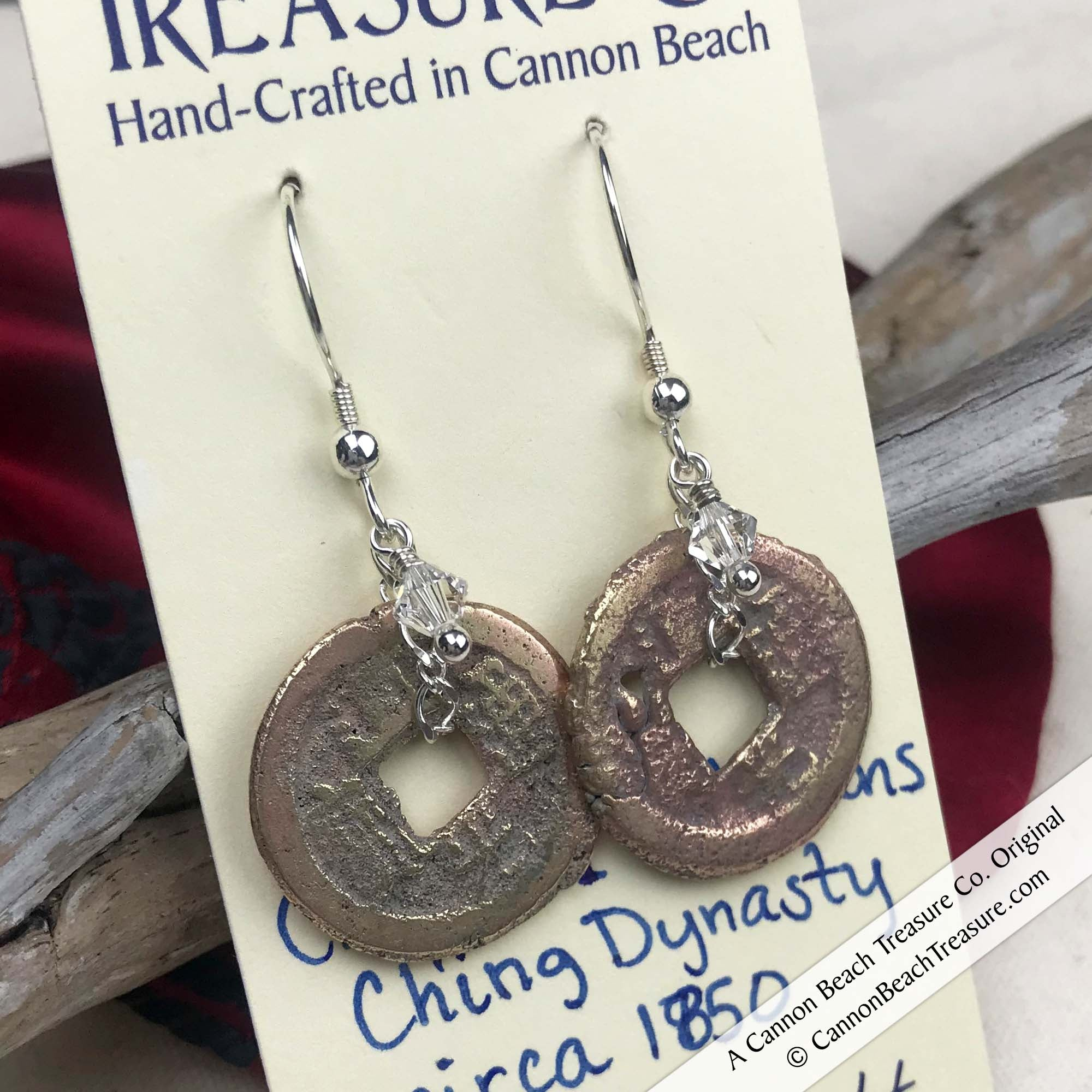Ch'ing Dynasty 1 Cash Treasure Coin Earrings with Crystal Clear Swarovski Crystals | Artifact #8710