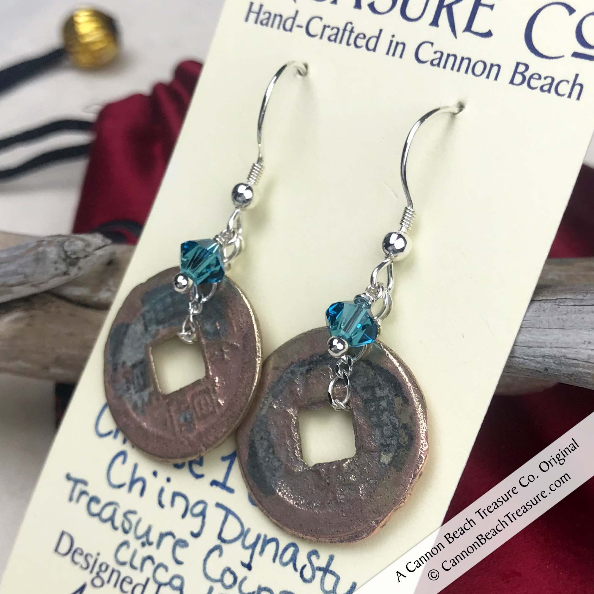 Ch'ing Dynasty 1 Cash Treasure Coin Earrings with Caribbean Blue Swarovski Crystals | Artifact #8712