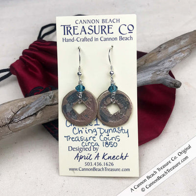 Ch'ing Dynasty 1 Cash Treasure Coin Earrings with Caribbean Blue Swarovski Crystals