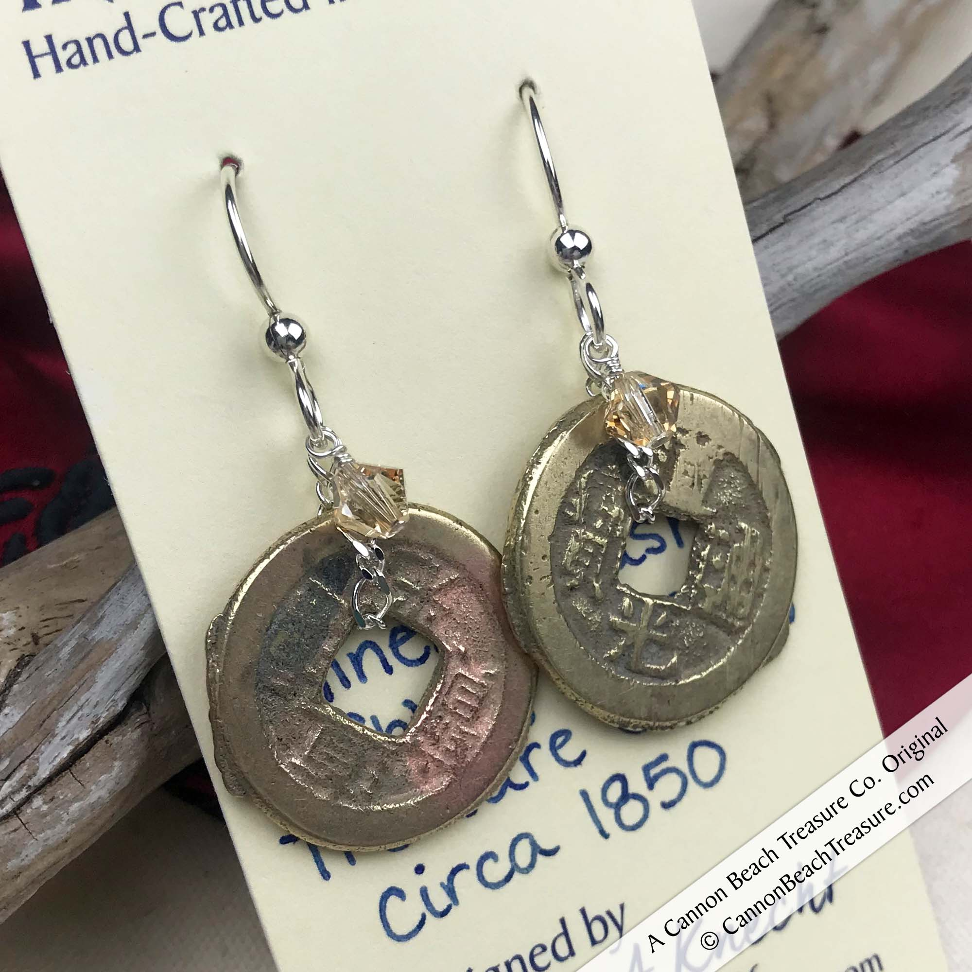 Ch'ing Dynasty 1 Cash Treasure Coin Earrings with Silk Swarovski Crystals | Artifact #8713