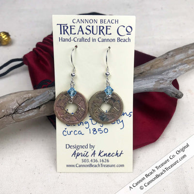 Ch'ing Dynasty 1 Cash Treasure Coin Earrings with Aquamarine Swarovski Crystals
