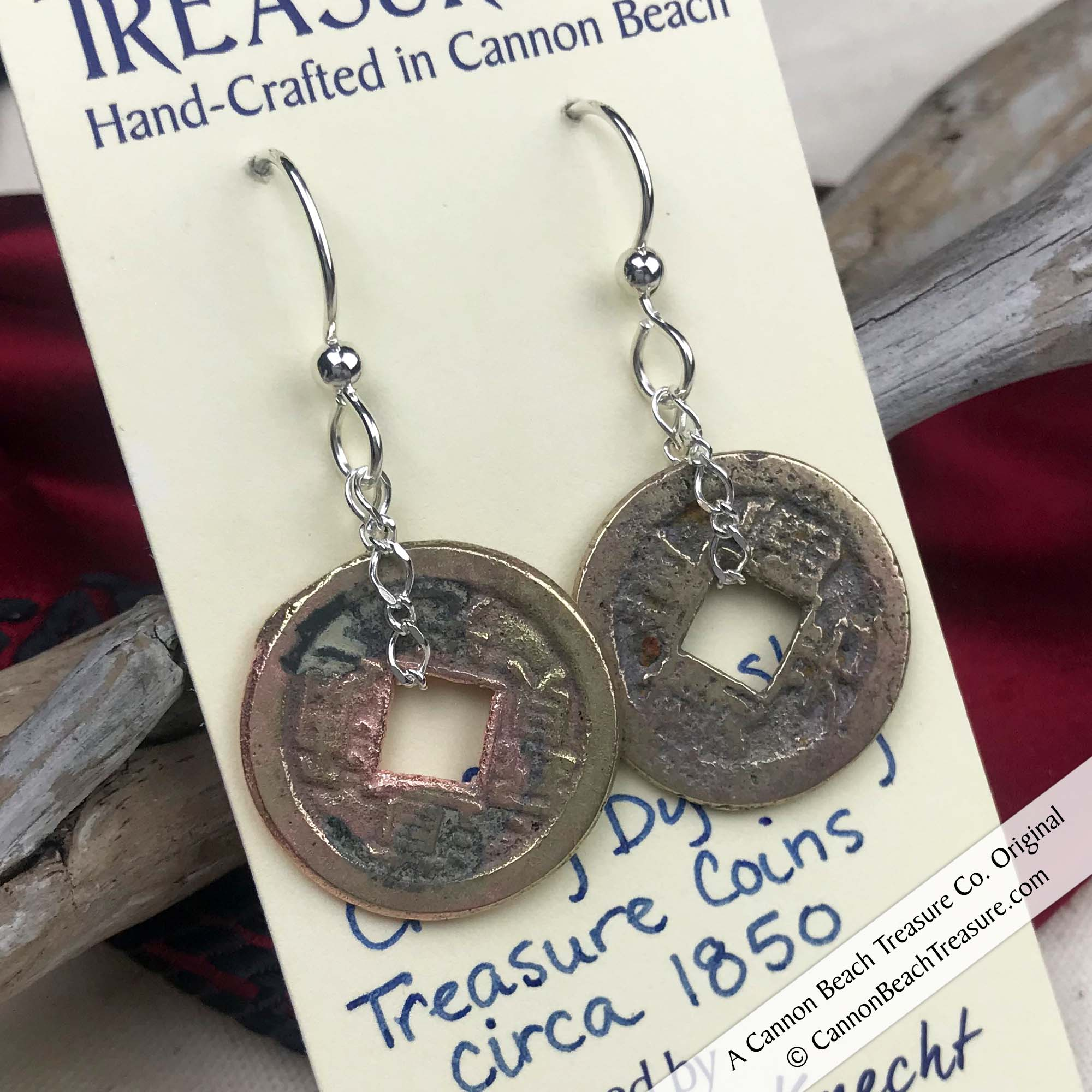 Ch'ing Dynasty 1 Cash Treasure Coin Earrings| Artifact #8716