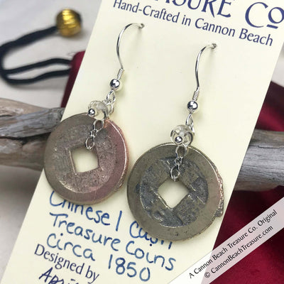 Ch'ing Dynasty 1 Cash Treasure Coin Earrings with Crystal Clear Swarovski Crystals