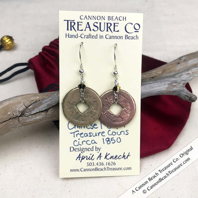 Ch'ing Dynasty 1 Cash Treasure Coin Earrings with Smoky Topaz Swarovski Crystals