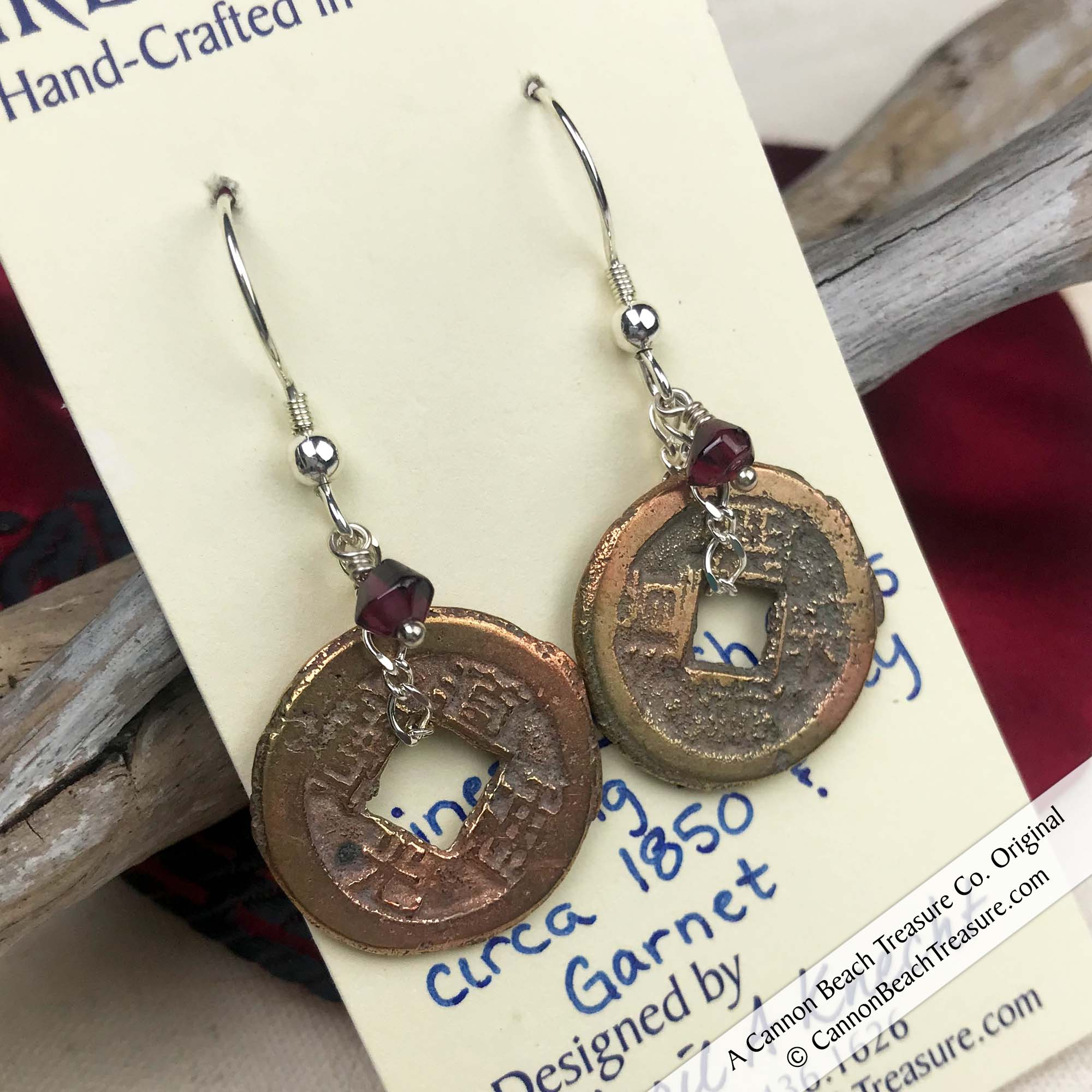 Ch'ing Dynasty 1 Cash Treasure Coin Earrings with Genuine Garnets | Artifact #8719