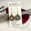 Ch'ing Dynasty 1 Cash Treasure Coin Earrings with Genuine Garnets