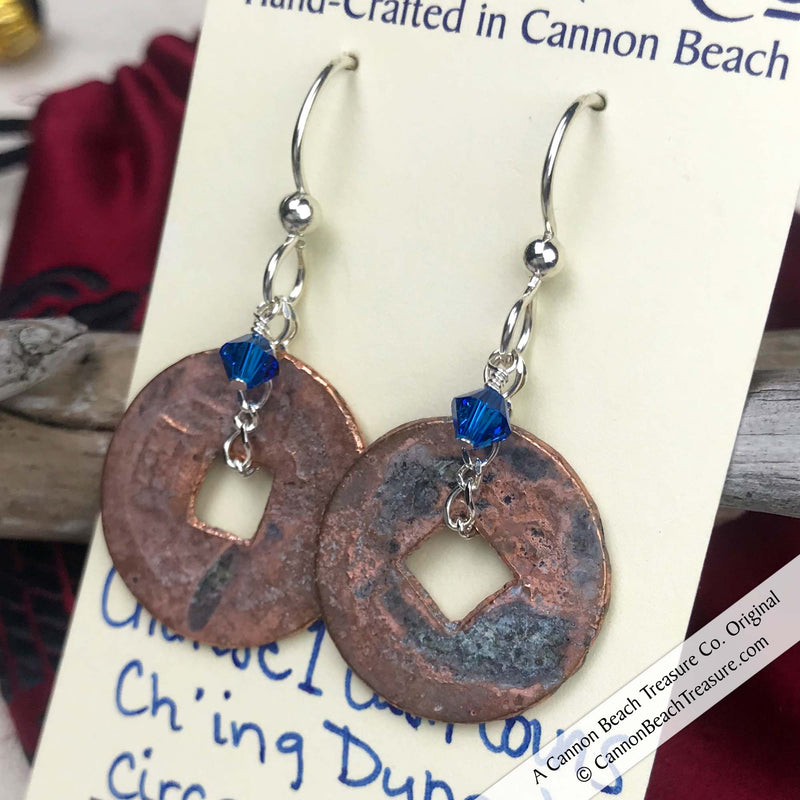 Ch'ing Dynasty 1 Cash Treasure Coin Earrings with Capri Blue Swarovski Crystals | Artifact #8720