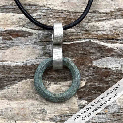 Soft Green, Raised Ridge Celtic Ring Money Ancient Anvil Necklace