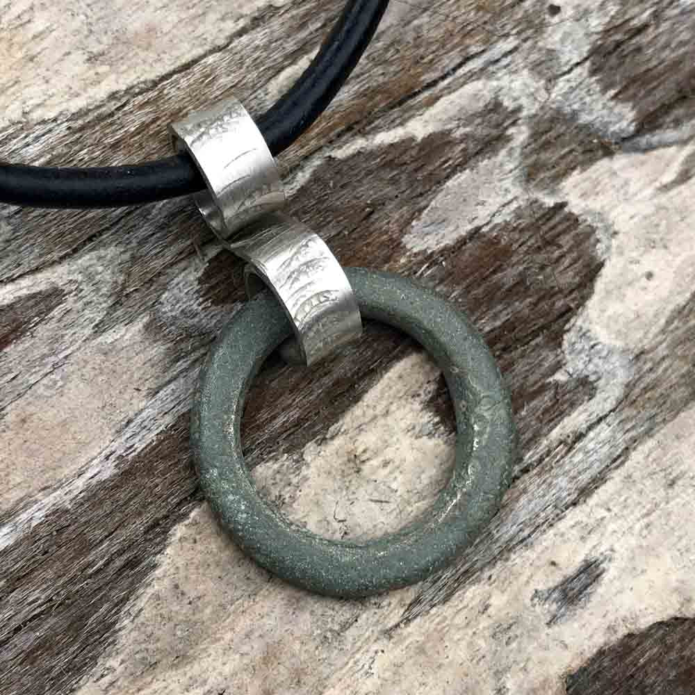 Green Thick, Flat Celtic Ring Money Ancient Anvil Sterling Silver Pendant