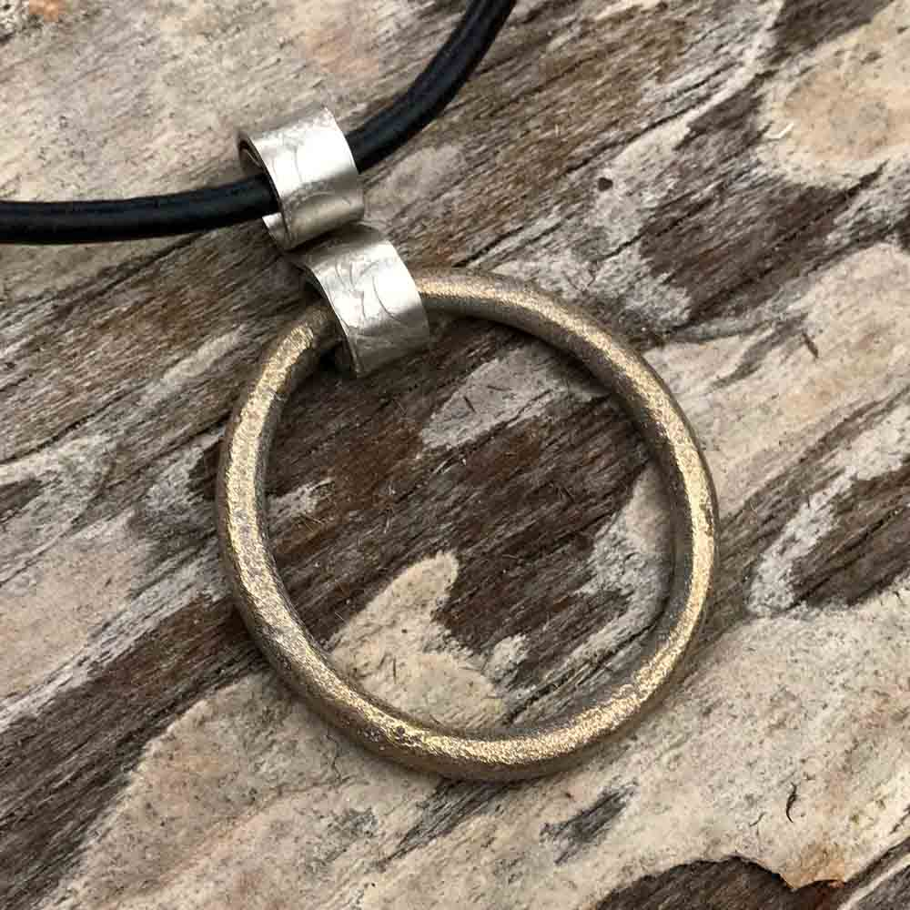 Huge Shinning Golden Bronze Celtic Ring Money Ancient Anvil Sterling Silver Necklace